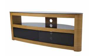 Ohio Oak 3 Drawer Tv Stand With Chrome Legs Intended For Well Known Sherbourne Oak Corner Tv Stands (View 8 of 14)