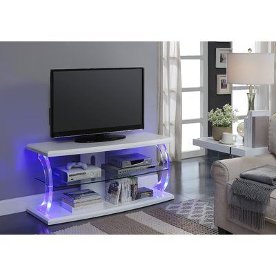 Orren Ellis Bojorquez Led Tv Stand In White And Clear Inside Favorite 57'' Led Tv Stands Cabinet (View 3 of 15)