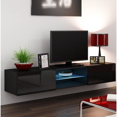Orren Ellis Jaggers Floating Tv Stand For Tvs Up To 78 Regarding Most Up To Date Modern Black Floor Glass Tv Stands With Mount (View 15 of 15)