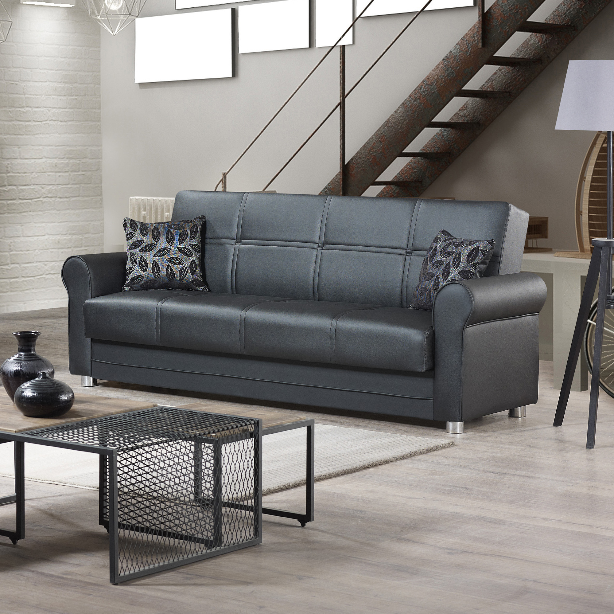 Ottomanson Avalon Sofa Bed With Storage In Leather Within Hartford Storage Sectional Futon Sofas (View 5 of 15)