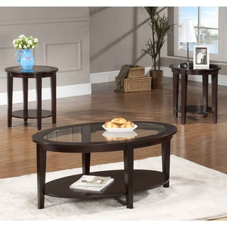 Oval Glass Coffee Table 3 Piece Set – Overstock – 7604315 With Current Tv Stand Coffee Table Sets (View 9 of 15)