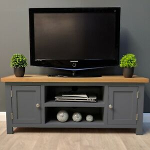 Painted Oak Tv Unit Large / Solid Wood / Dark Grey / Tv Pertaining To Well Liked Dark Wood Tv Stands (View 7 of 15)