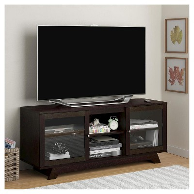 """Parkway Tv Stand For Tvs Up To 55"""" – Espresso – Room & Joy In Best And Newest Corner Tv Cabinets With Glass Doors (View 4 of 15)"""