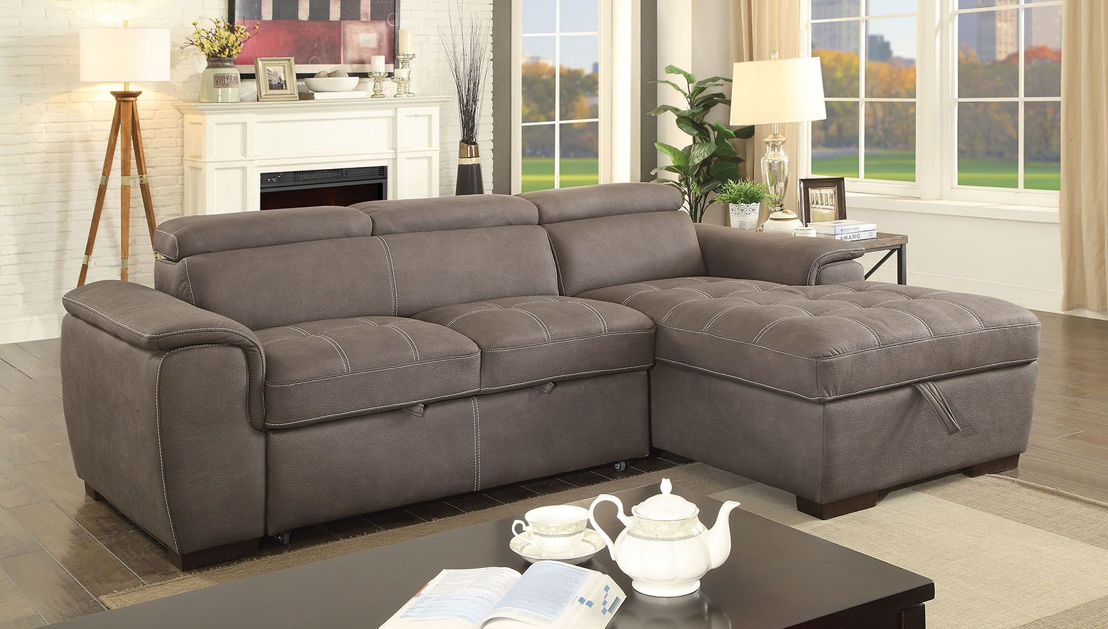 Patty Contemporary Sectional Storage Sleeper Sofa, Ash With Regard To Sectional Sofas With Storage (View 1 of 15)