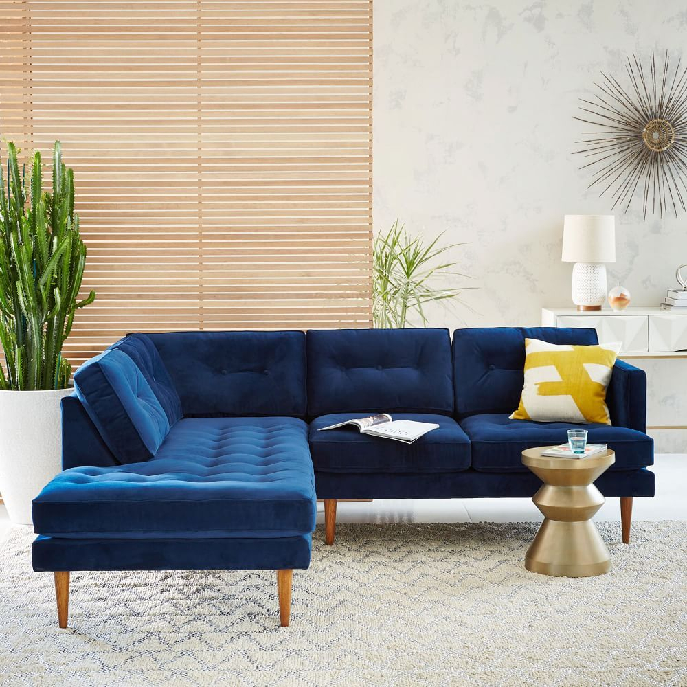 Peggy Mid Century Set 2: Right Arm Sofa, Left Terminal With Regard To Dulce Mid Century Chaise Sofas Dark Blue (View 13 of 15)