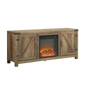 """Pemberly Row 58"""" Barn Door Fireplace Tv Stand In Rustic Pertaining To Recent Tv Stands With Sliding Barn Door Console In Rustic Oak (View 2 of 15)"""