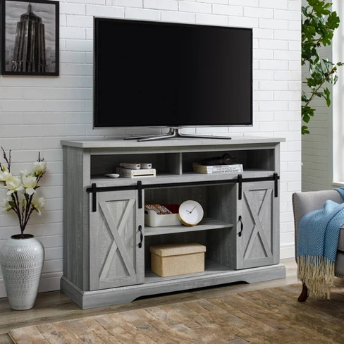 """Pin On Stuff For New House Throughout Trendy Modern Farmhouse Style 58"""" Tv Stands With Sliding Barn Door (View 10 of 15)"""