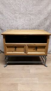 Pine Tv Unit 2 Draw Wrought Iron Base (View 15 of 15)