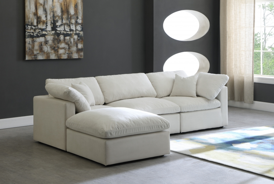 Plush Velvet Standard Cloud Modular Down Filled Throughout London Optical Reversible Sofa Chaise Sectionals (View 6 of 15)