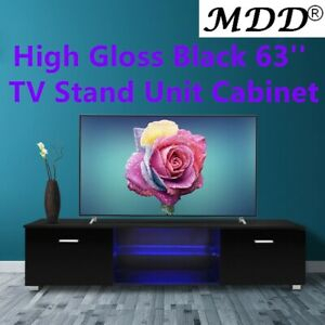 """Popular 47"""" Tv Stands High Gloss Tv Cabinet With 2 Drawers For High Gloss Black 63'' Tv Stand Unit Cabinet With Led Light (View 15 of 15)"""