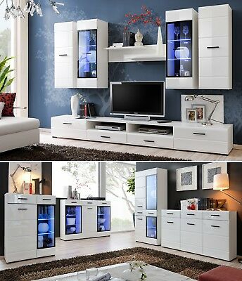 Popular 57'' Led Tv Stands With Rgb Led Light And Glass Shelves Throughout Modern Living Room Set Cupboard Stand Gloss Tv Unit (View 8 of 15)