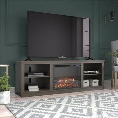 """Popular Ameriwood Home Rhea Tv Stands For Tvs Up To 70"""" In Black Oak Pertaining To 75"""" Brenner Fireplace Tv Stand Weathered Oak – Room & Joy (View 5 of 15)"""