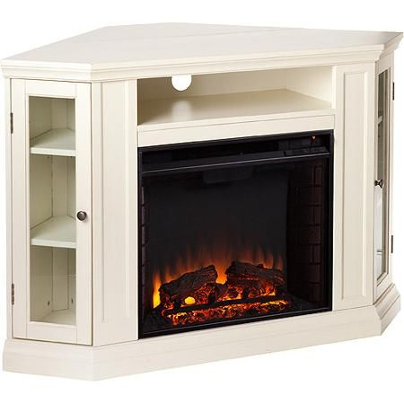 Popular Compton Ivory Corner Tv Stands Regarding Silverado Corner Media Console And Electric Fireplace (View 10 of 15)