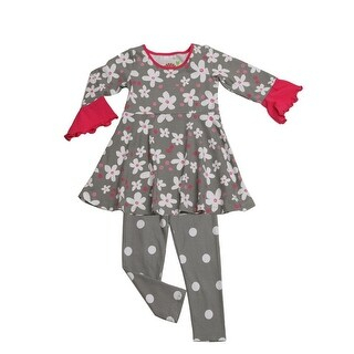 Popular Penelope Dove Grey Tv Stands In Girls Dove Gray Sugar Bloom Swing Kacey Tunic 2 Pc Legging (View 15 of 15)