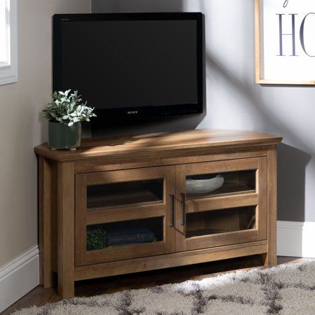"""Popular Woven Paths Transitional Corner Tv Stands With Multiple Finishes Within Manor Park Wood Corner Tv Stand For Tvs Up To 48"""" – Rustic (View 2 of 15)"""