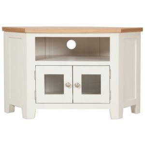 Porto Ivory Painted Oak Glazed Corner Tv Unit (View 3 of 15)