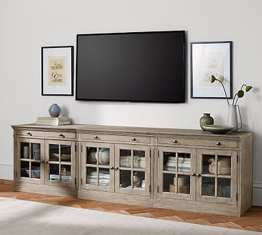 Pottery Barn Regarding Favorite Modern Black Floor Glass Tv Stands With Mount (View 3 of 15)