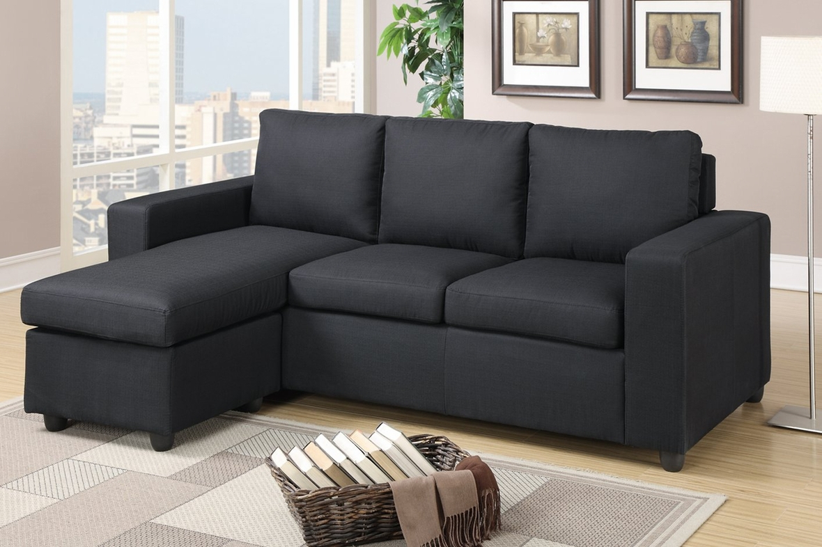 Poundex Akeneo F7490 Black Fabric Sectional Sofa – Steal A Inside Los Angeles Sectional Sofas (View 3 of 15)