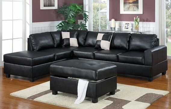 Poundex F7355 3 Pc Latitude Run Lyke Black Faux Leather Intended For Copenhagen Reversible Small Space Sectional Sofas With Storage (View 8 of 15)