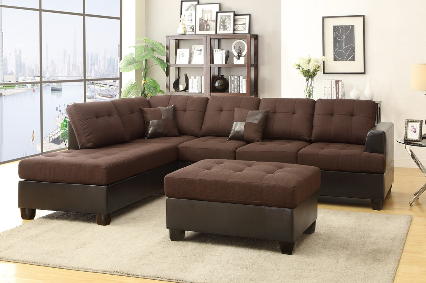 Poundex Moss F7602 Brown Fabric Sectional Sofa And Ottoman In Los Angeles Sectional Sofas (View 6 of 15)