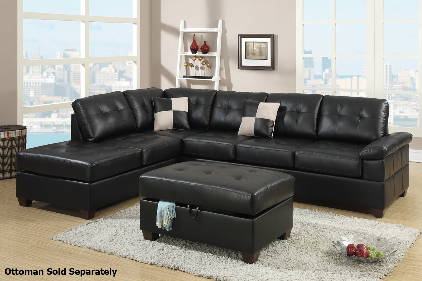 Poundex Reese F7519 Black Leather Sectional Sofa – Steal A Inside Los Angeles Sectional Sofas (View 7 of 15)