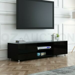 Preferred Dillon Black Tv Unit Stands Intended For Tv Stand 160Cm Lowline Entertainment Cabinet High Gloss (View 4 of 15)
