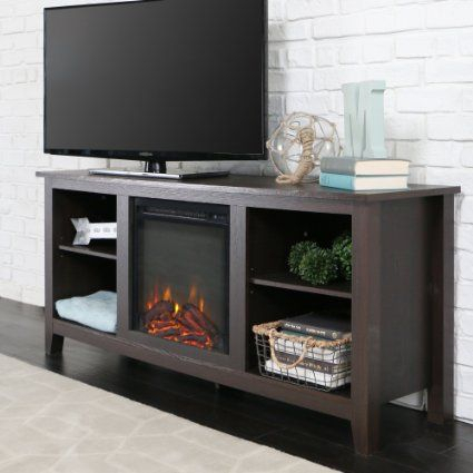 Preferred Fireplace Media Console Tv Stands With Weathered Finish Regarding New 58 Inch Tv Stand With Fireplace In Espresso Finish (View 3 of 15)