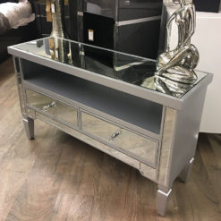 Preferred Fitzgerald Mirrored Tv Stands Intended For Georgia Silver Trim Mirrored 2 Drawer Tv Entertainment (View 13 of 15)