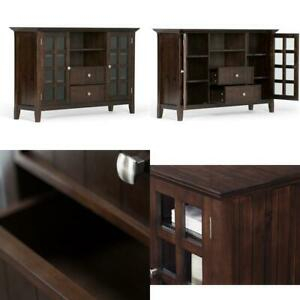 Preferred Indi Wide Tv Stands For Simpli Home Acadian Solid Wood Universal Tall Tv Media (View 10 of 15)