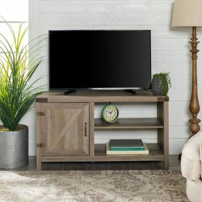 """Preferred Jaxpety 58"""" Farmhouse Sliding Barn Door Tv Stands In Rustic Gray Pertaining To Walker Edison Furniture Company 58 In (View 12 of 15)"""