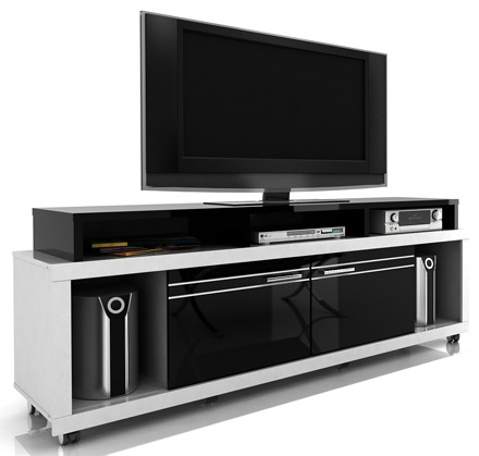 Preferred Modern Black Tv Stands On Wheels Throughout Modloft Function Milano Tv Stand Entertainment Center Up (View 4 of 15)