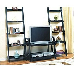 Preferred Modern Black Tv Stands On Wheels With Metal Cart In Leaning Ladder Book Shelf Entertainment Center – Overstock (View 3 of 15)