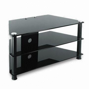 Preferred Tv Stands And Bookshelf For Tv Stand/Table, 3 Shelf 8/6/6Mm Black Tempered Glass (View 12 of 15)