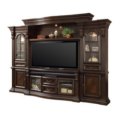 Preferred Wide Tv Stands Entertainment Center Columbia Walnut/Black Pertaining To Media Storage (View 7 of 15)