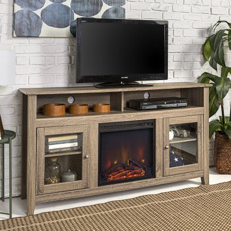 Preferred Woven Paths Farmhouse Barn Door Tv Stands In Multiple Finishes For Woven Paths Highboy Glass Door Fireplace Tv Stand For Tvs (View 5 of 14)
