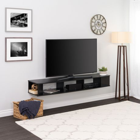 """Prepac 70"""" Wide Wall Mounted Tv Stand, Black (View 9 of 15)"""