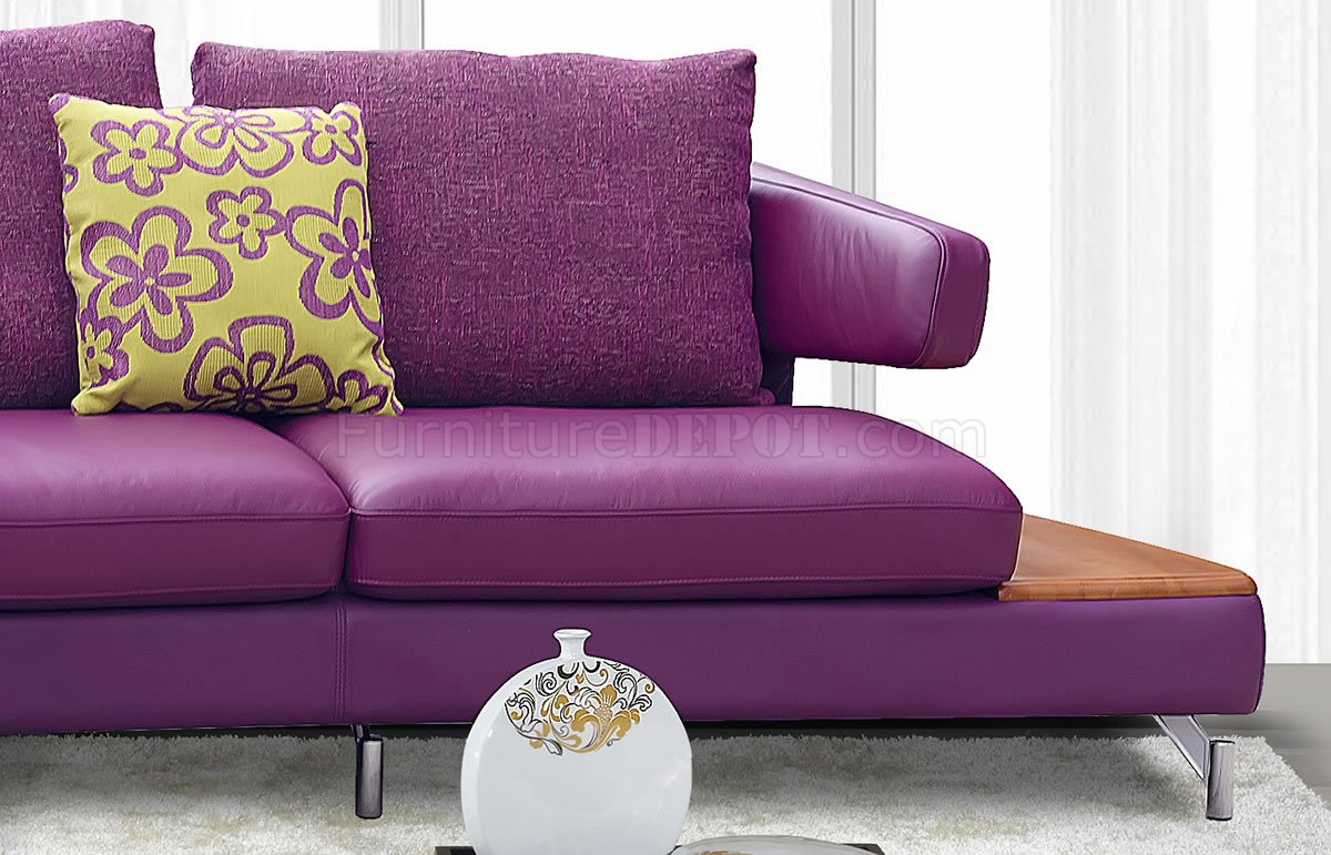 Purple Genuine Italian Leather Modern Sectional Sofa W/Shelves In Sectional Sofas (View 2 of 15)