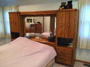 Queen Bed Wall Unit: Mirrored Headboard & Dresser Combo For Most Popular Lucas Extra Wide Tv Unit Grey Stands (View 2 of 15)