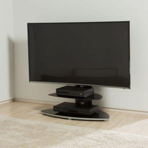 Recent Chromium Tv Stands Regarding Osmium Cantilever Bracket Tv Stand In Black And Chrome (View 15 of 15)
