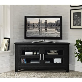 Recent Corner Tv Cabinets With Glass Doors With Regard To Black Wood 44 Inch Corner Tv Stand – Overstock Shopping (View 10 of 15)