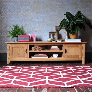 Recent Penelope Dove Grey Tv Stands With Regard To Oak Solid Wood Oak, Pine & Painted Tv Stands & Tv Units (View 6 of 15)