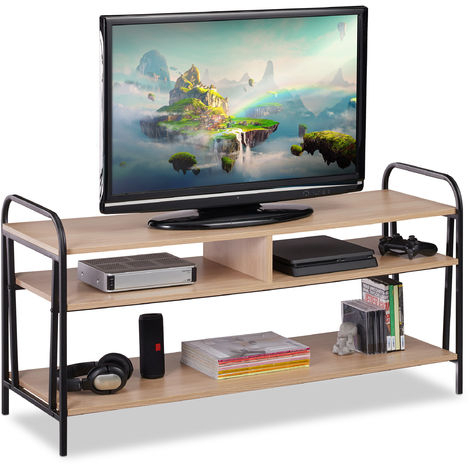Relaxdays Tv Stand, Industrial Shelving Unit For Tv & Vcr In Preferred Industrial Corner Tv Stands (View 12 of 15)