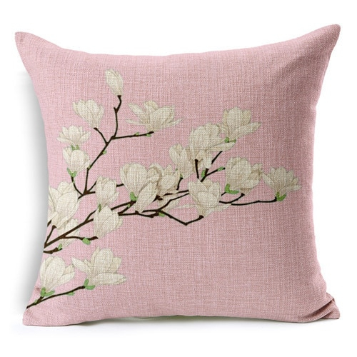 Retro Fresh Hand Painted Magnolia Linen Cotton Cushion Inside Magnolia Sectional Sofas With Pillows (View 5 of 15)