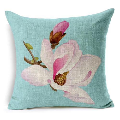 Retro Fresh Hand Painted Magnolia Linen Cotton Cushion Intended For Magnolia Sectional Sofas With Pillows (View 6 of 15)