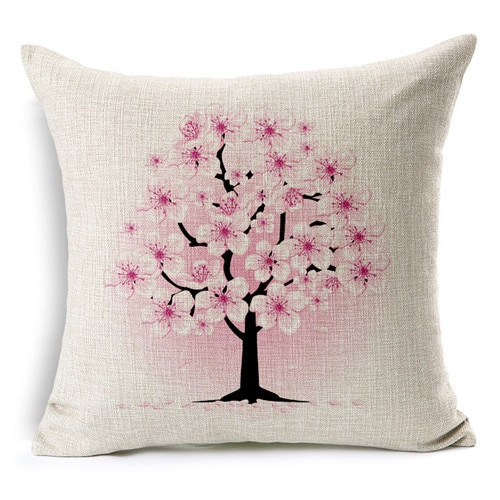 Retro Fresh Hand Painted Magnolia Linen Cotton Cushion Pertaining To Magnolia Sectional Sofas With Pillows (View 1 of 15)