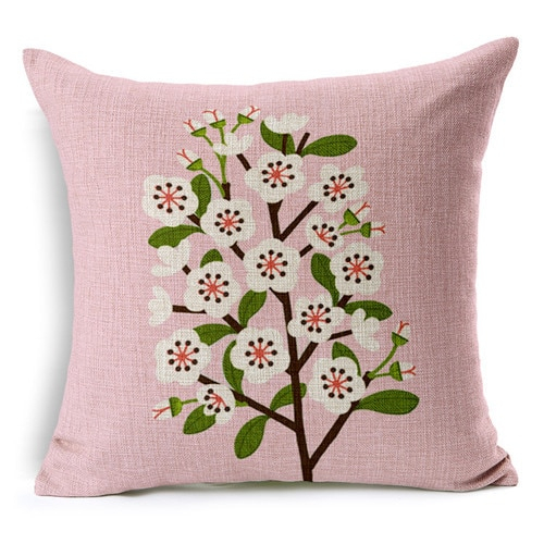 Retro Fresh Hand Painted Magnolia Linen Cotton Cushion Within Magnolia Sectional Sofas With Pillows (View 4 of 15)