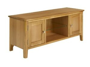 Retro Oak Large Tv Unit / Wide Media Stand / Scandi Wood For Trendy Bromley Extra Wide Oak Tv Stands (View 3 of 15)