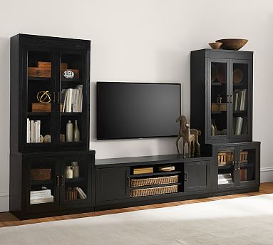 Reynolds Tv Stand Media Suite With Glass Door Towers Inside Most Current High Glass Modern Entertainment Tv Stands For Living Room Bedroom (View 6 of 15)