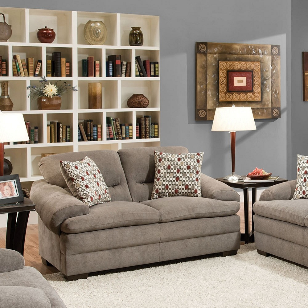 Roselyn Miranda Shale 2 Pillows Loveseat Intended For Debbie Coil Sectional Sofas (View 10 of 15)