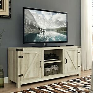 Rustic 58 Barn Door Tv Stand Cosole White Oak With Regard To Famous Rustic White Tv Stands (View 1 of 15)